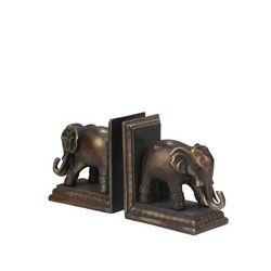 """"""" Polished Elephant Bookends - Sagebrook Home 11597"""""""