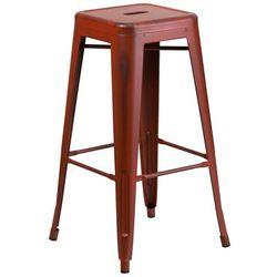 "Flash Furniture ET-BT3503-30-RD-GG 30"" Backless Bar Stool - Steel, Distressed Red"