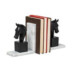 Hidalgo (Set of 2) 14L x 3W Black Majestic Horse Bookends - Mercana 68931
