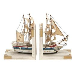 """( Set of 2 ) White Wood Coastal Sailboat Bookends, 9"" x 6"" - 60521"""