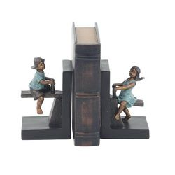 """""""( Set of 2 ) Brown Polystone Eclectic Children Bookends, 5"""" x 8"""" - 79039"""""""