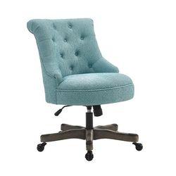 Sinclair Office Chair in Light Blue w/ Gray Wash Wood Base - Linon 178403LTBLU01U