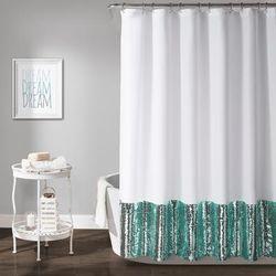 Mermaid Sequins Shower Curtain SPA Blue/ White Single 72X72 - Lush Decor 16T003288