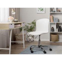 Arbeitshocker Weiß mit Rollen Kunstleder Bürostuhl Modern