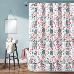 Hygge Sloth Shower Curtain White Multi Single Single 72X72 - PB&J 16T004419