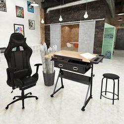 Neigbare Tischplatte-Zeichentisch mit Bürostuhl VD18545 - Hommoo