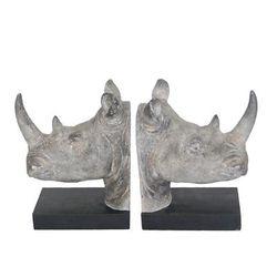 """ Resin Rhino Head Bookends - Sagebrook Home 13980"""