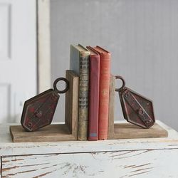 Repurposed Pulley Bookends - CTW Home Collection 530388