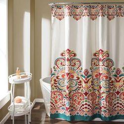 Clara Shower Curtain Turquoise/Tangerine 72x72 - Lush Decor 16T000086