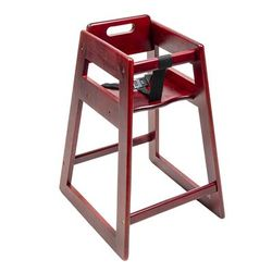 """CSL 900MH-KD 27 1/2"""" Stackable High Chair w/ Waist Strap - Rubber Wood, Mahogany"""