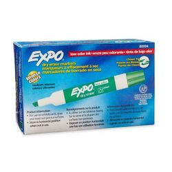 Expo Tank-style Dry Erase Markers, Bullet Tip, Green Ink, 12 Pack