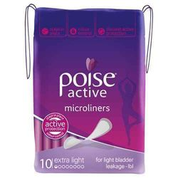 Poise Active Microliners Extra Light Absorbency 10 Pack