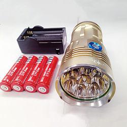 Linternas LED Impermeable Recargable 9600lm LED LED 8 Emisores 3 Modo de Iluminación con pilas y cargador Impermeable Recargable Visión nocturna Camping / Send