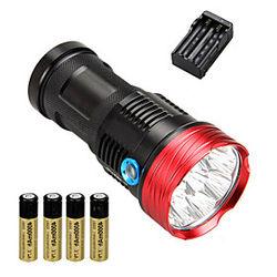 10 Linternas LED Táctico Impermeable 10000 lm LED LED 10 Emisores 3 Modo de Iluminación con pilas y cargador Táctico Impermeable Recargable Resistente a Golpes