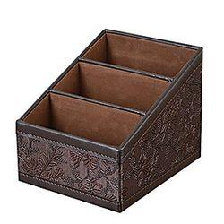3 compartimentos de ranura multifuncional cuero de la pu almacenamiento de escritorio oficina organizador de escritorio soporte de control remotoamp; 40; mar