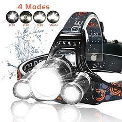 4 Linternas de Cabeza Linterna Zoomable Recargable 2500 lm LED 3 Emisores 4.0 Modo de Iluminación con pilas y cargador Zoomable Recargable Super Ligero Cascada
