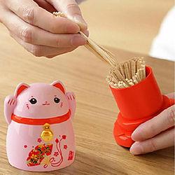 Caja de almacenamiento de palillos de gatos de la suerte estilo japonés, soporte para palillos de dientes de escritorio para el hogar, decoración de restaurant