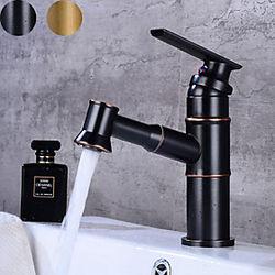 grifo del lavabo del baño - extraiga bronce frotado con aceite / latón antiguo juego central grifos de un orificio de una manija