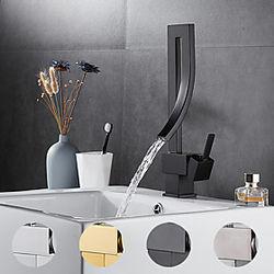 grifo del lavabo del baño: conjunto central galvanizado giratorio / en cascada, una manija, un orificio, grifos de baño dorado, negro, plateado