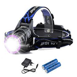Linternas de Cabeza Impermeable Recargable 1800 lm LED LED 1 Emisores 3 Modo de Iluminación con pilas y cargadores Impermeable Recargable Camping / Senderismo