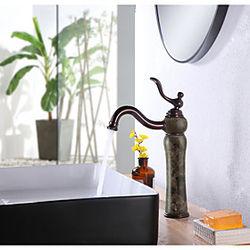 grifo del lavabo del baño piedra de lujo estilo resistente monomando orificio único todo cobre / latón y café natural grifos de mármol montaje en cubierta grif