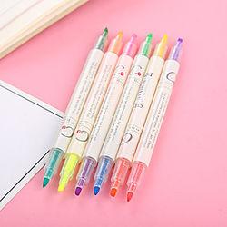 Resaltador creativo de dos cabezas, los estudiantes usan bolígrafos de colores para enfocarse en la línea.