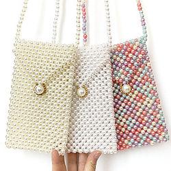 bolso del teléfono móvil de la perla, bolso pequeño con cuentas a mano, tres colores, una pequeña cantidad de stock se puede personalizar