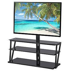 Soporte de tv de vidrio templado universal ajustable con marco de metal de tres capas, muebles de sala de estar