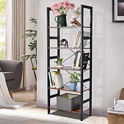 Estantería de 5 capas / estante de almacenamiento para sala de estudio / sala de estar / muebles de oficina marrón