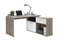 FMD furniture Schreibtisch, Holzwerkstoff, Sandeiche/Hochglanz-Weiß, ca. 134 x 141 cm