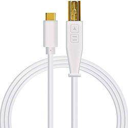 DJ TechTools Chroma Cable USB-C, Hoogwaardige audio-geoptimaliseerde USB-C naar USB-B kabel (volledig gevlochten afscherming met twee ferrietkernspoelen, lengte: 1,5m met klittenband), Wit