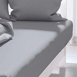 Hoeslaken uni 90x190 cm ATMO grijs