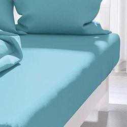 Hoeslaken uni 140x190 cm ATMO turquoise