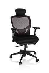 hjh OFFICE 657130 silla de oficina VENUS BASE asiento tela / respaldo malla gris / negro silla ergonómica