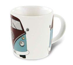 BRISA VW Collection - Volkswagen Bulli Bus T1 Kaffee-Tee-Tasse-Becher für Küche, Werkstatt, Büro - Camping-Zubehör/Geschenk-Idee/Souvenir (Motiv: Front/Petrol/Braun)