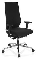 hjh OFFICE 608841 silla de oficina PRO-TEC 700 tela negro respaldo alto apoyabrazos 4D soporte lumbar ajustable silla giratoria