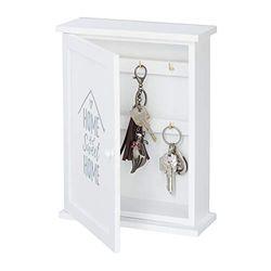 Relaxdays Schlüsselkasten Holz, Sweet Home-Aufdruck, Landhausstil, zum Aufhängen, Schrank HBT 29 x 22 x 8 cm, weiß