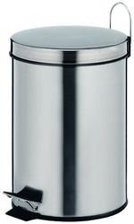 Kela 18194 Prullenbak, inhoud van 5 l, roestvrij staal, Marino, glanzend zilver