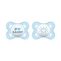 MAM Original siliconen fopspeen in een set van 2, tandvriendelijke babyspeen, speentje van speciale MAM SkinSoft-siliconen met transportdoosje, 0-6 maanden, blauw