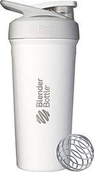 BlenderBottle Strada Shaker Cup Geïsoleerde roestvrij stalen waterfles met draad garde, 24 oz, wit