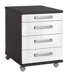 Contenedor de Oficina para Muebles, Color Antracita/Blanco Claro, Aprox. 41,6 x 50,0 x 53,4/56,9 cm.