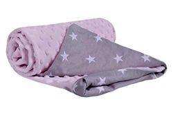 Krabbeldecke 100% Baumwolle 75x100cm doppelseitig multifunktional Minky Kuscheldecke für Kinderwagen weich flauschig (weiße Sterne mit rosa Minky)