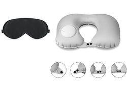 Novago (2 in 1) Slaap- en reismasker, 100% zuivere natuurzijde + 1 reiskussen, opblaasbaar, comfortabel en licht