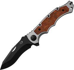 Eickhorn - Klappmesser|Secutor Silber, schwarze Klinge Holz DE | Klingenlänge: 8,5 cm - Zweihand | Taschenmesser - Solingen - Germany | Robust - rostfrei - scharf