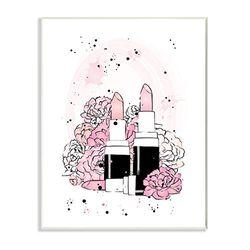 Stupell Industries Pink Peony Florals Glam Lipstick Cosmetic, Design by Martina Pavlova Wandschild, weiß, 13x19