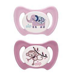 nip Dental-Schnuller Miss Denti: Erster Schnuller, der Beißdruck verteilt, in mehreren Größen, Made in Germany, BPA-Frei, Größe 2 - Rosa & Pink