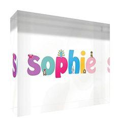 Little Helper SOPHIE-A7BLK-15DE Diamant gepolijst baby aandenken / token, gepersonaliseerd met meisjesnaam, Sophie, 7,4 x 10,5 x 2 cm, kleine miniatuurtoken