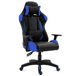 GAMING - Gamingstuhl bürostuhl Gaming, ergonomischer Schreibtischdrehstuhl blau, verstellbare Liege mit Armlehnen, 5 Räder
