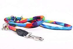 Capadi K1021 Hochwertige verstellbare farbige Hundeleine Rundform aus weichem Nylon und Starke Schnur im inneren, Bunt, Breite 8 mm, Länge 220 cm