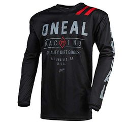 O'NEAL | Motocross-Trikot | Enduro MX | Atmungsaktives Material, gepolsterter Ellenbogenschutz, Passform für maximale Bewegungsfreiheit | Jersey Element Dirt | Erwachsene | Schwarz Grau | Größe L